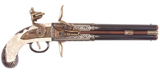 Denix 1750 Double Barrel Over-Under Flintlock Pistol Replica