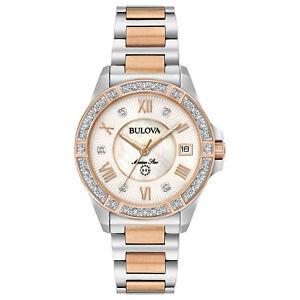 Bulova Marine Star Women's Quartz Diamond Accents Two-Tone 32mm Watch 98R234