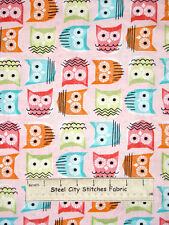 Owl Fabric 100% Cotton By The Yard Timeless Treasures Hoot Wise Owl Pink C2295