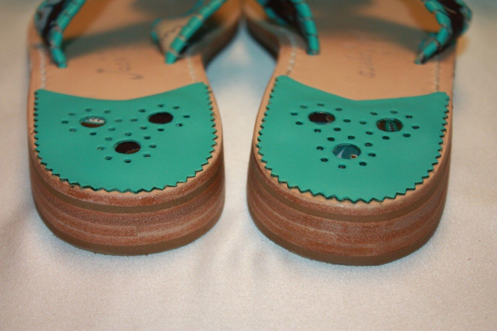 NEW! NIB! JACK ROGERS Peacock Brown Printed NAVAJO 6 Flip Flop Sandals Sz 6 NAVAJO 6.5 4506a2