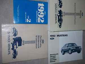 1992 FORD MUSTANG Service Shop Workshop Repair Manual Set ...