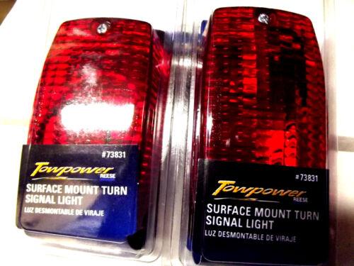 2 RECTANGULAR SURFACE MOUNT RED SIGNAL,PARKING LIGHTS WITH 2 FILAMENT LIGHT BULB