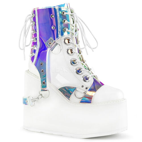 Demonia 5.5 Huge Platform White & Hologram Vegan Harness Boots Goth Cyber 6-12