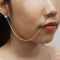 Septum Nose To Ear Chain / Non-pierced Nose Ring & Pierced Earring Pe1075
