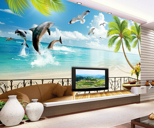 3D Dolphin Beach 688 Wall Paper Wall Print Decal Deco Indoor Wall Mural CA