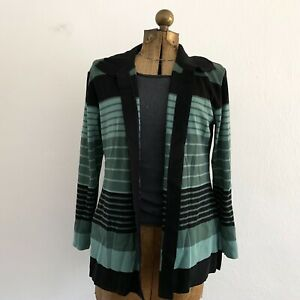Exclusively-Misook-Black-Green-Stripe-Open-Front-Long-Cardigan-Sweater-Petite-Lg