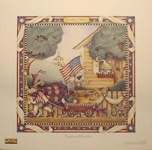 art-print-YANKEE-DOODLE-Debbie-Mumm-flag-Americana-patriotic-4th-of-July-13x13
