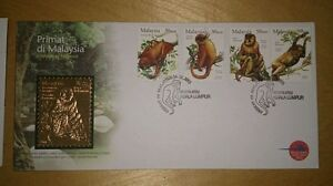 Clean-Royal-Selangor-GOLD-plated-Pewter-Stamp-FDC-2003-Malaysia-Primates-Primat