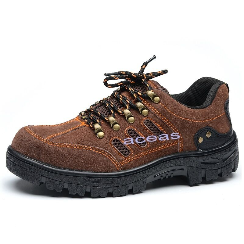 New Men's Faux Leather Work Safety Boots Steel Toe Factory Work Climbing shoes