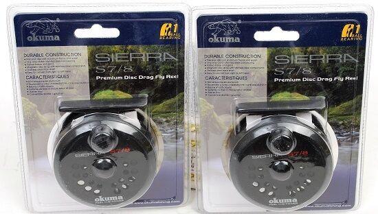 2 Okuma Sierra S7/8 Weight Aluminum Fly Fishing Reels, NEW