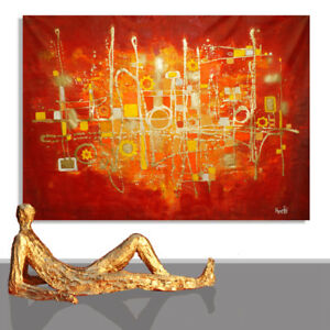 Abstract Painting Large Interior Design Red Gold Art Machine Xxl Design 71 X 51 Ebay
