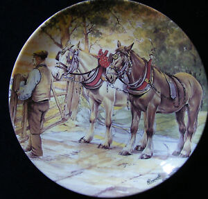Danbury-Mint-Working-Horses-8-Plate-Through-the-Gate-and-Home-by-M-Greensmith