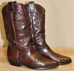 Bottes western santiag homme MEXICANA cuir marron 8,5 US 8 UK 42 EUR 27 cm