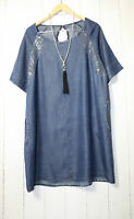 ITALY Jeans Tunika Kleid Gr 38 40 42  Denim Pailletten Lagenlook Dunkel Blau