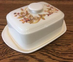 Vintage-Melamine-Butter-Dish-M-amp-S-Harvest-Lidded-18x8-Cm
