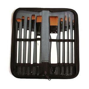 Set-of-10-Assorted-Artist-Paint-Brushes-in-Travel-Zip-Case