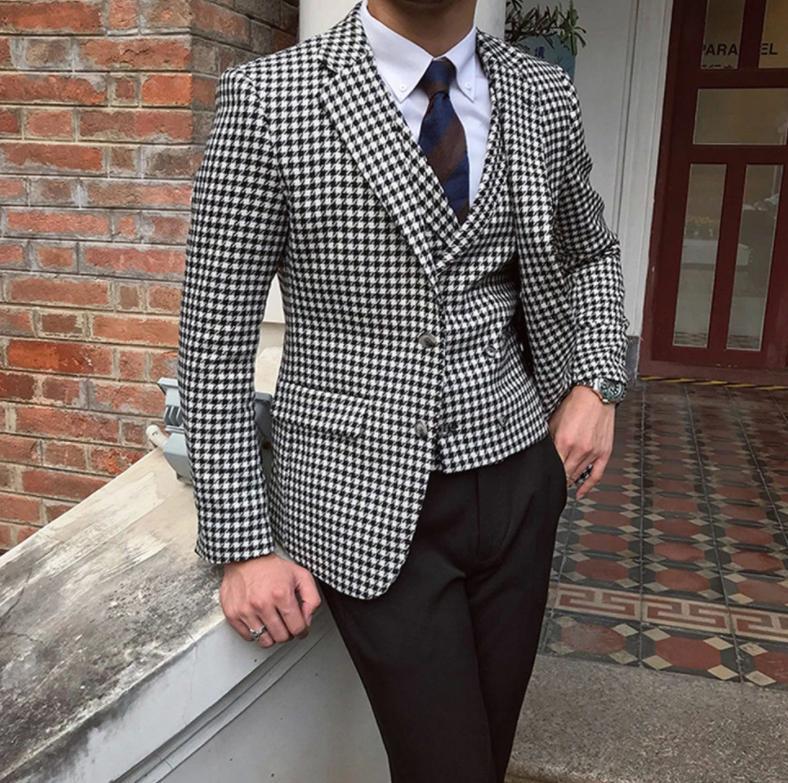 Men Houndstooth Blazer Suits Jacket for Formal Business Wedding Tweed Tuxedo