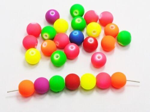 "/""hottest summer tendance/"" un pack de fluorescent-neon ronde perles de verre-lady-muck1"