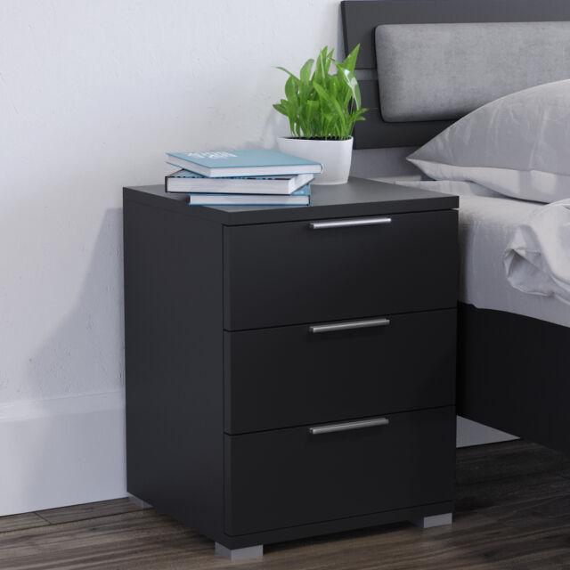 Vicco 2x Nachtschrank Kommode Nachttisch Schublade Ablage Schlafzimmer  schwarz