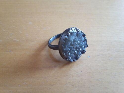 Dansk Smykkekunst Ring matt versilbert matt rhodium mit  Acrylstein Neu