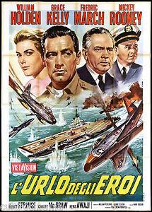 L'URLO DEGLI EROI MANIFESTO CINEMA GRACE KELLY WAR BRIDGES AT TOKO-RI POSTER 4F