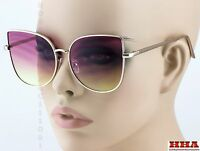 Exaggerated Vintage Retro Cat Eye Style Sunglasses Gold Frame Pink & Yellow Lens