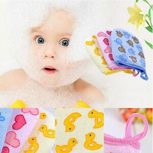 Baby Kid Cartoon Soft Bathroom Mitt Glove Rub Shower Sponge Wash Cloth Towel Hot