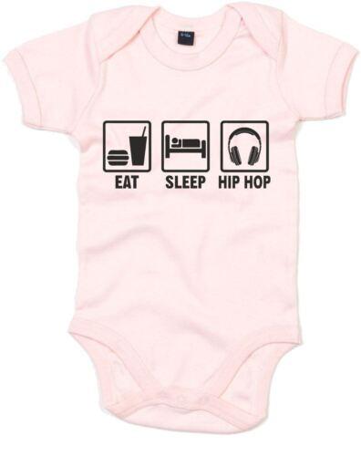 Eat Sleep Hip Hop Printed Baby Grow Crew Neck Baby Shower Gift New Sleep Suit