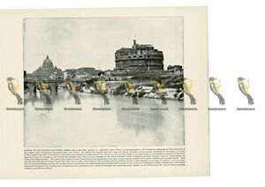Castle-of-San-Angelo-amp-the-Tiber-Rome-Italy-Book-Illustration-Print-1899