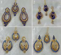 4 Pair Of Earrings & Tikka Handmade Gold Plated Zerconic Kundan Jhumka Style