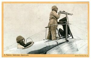 Antique-military-WW1-postcard-A-French-Armoured-Aeroplane-on-active-service