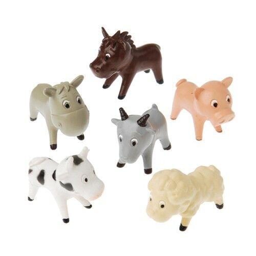 12 Plastic Farm Barn Yard Animal Figures Toy Birthday Party Goody Loot Bag Favor