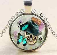 Vintage Skull Cabochon Tibetan silver Glass Chain Pendant Necklace