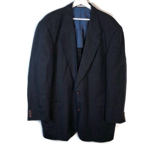 HUGO BOSS Men 44L 100% Linen Blazer Navy Blue 2 Bu