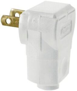 Leviton-15-Amp-White-Non-Polarized-Angle-Plug-Straight-Blade-Plastic-Indoor