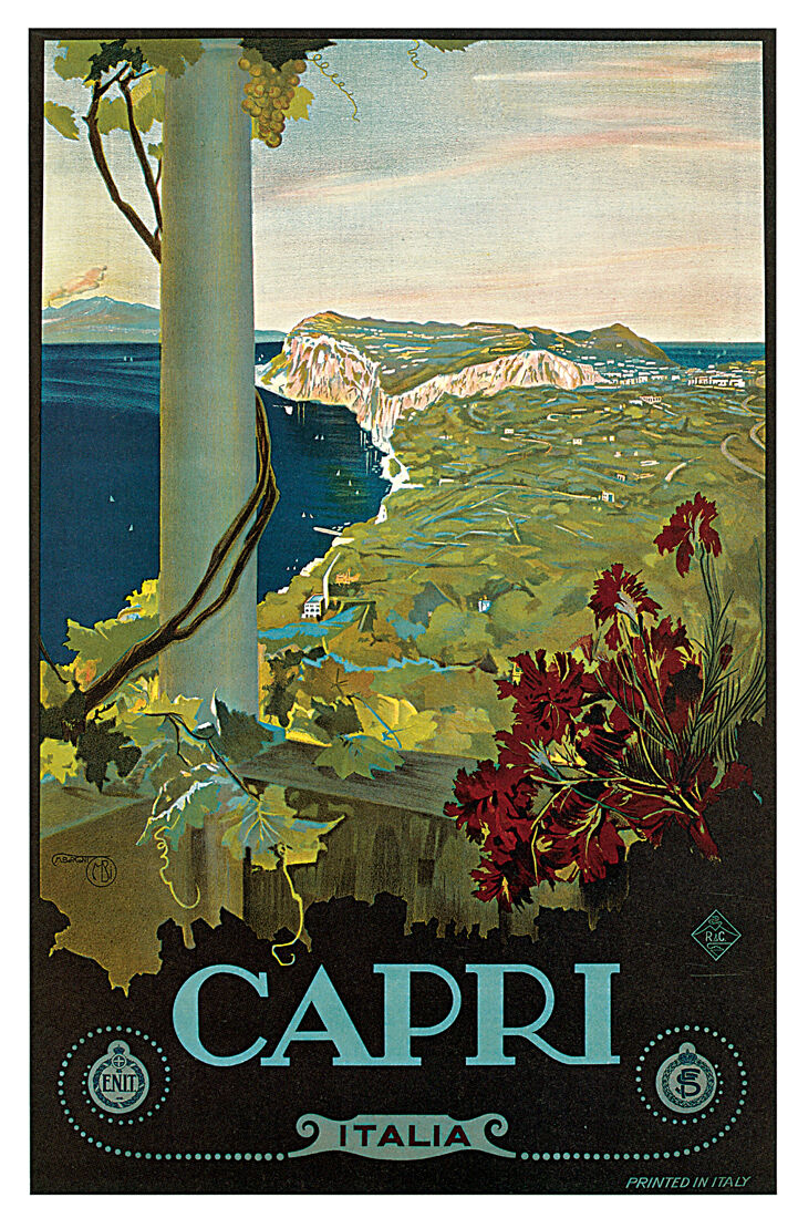 Capri  c.1927 - 24 x36   Vintage Travel Poster on Canvas