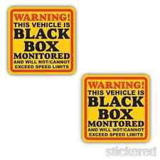 2 x BLACK BOX MONITORED VEHICLE CAR WINDOW WARNING STICKERS 100mm x 100mm
