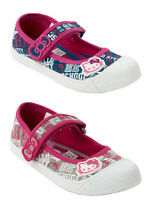 GIRLS OFFICIAL HELLO KITTY DENIM PINK CANVAS PUMPS SHOES TRAINERS KIDS SIZE 8-2
