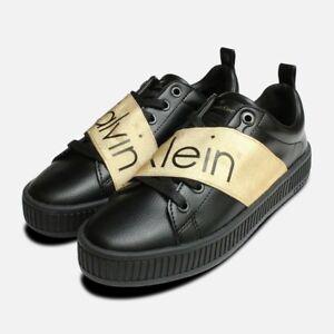 Details about Exclusive Gold & Black Calvin Klein Antonia Shoes