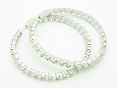 "Platinum Sterling Silver White Sapphire Inside Out Hoop Design 2.75/"" Earrings"