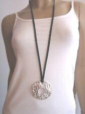 Kette schwarz lang XL Halskette Leder look Anhänger silber