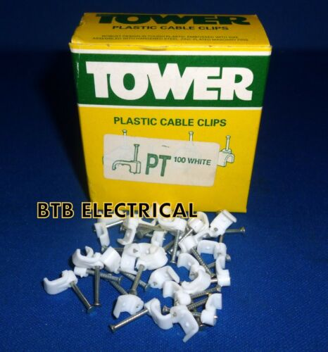 Clip BELL WIRE Torre PT//Bell PARALLELO CAVO PIATTO BIANCO CLIP CONFEZIONE DA 100