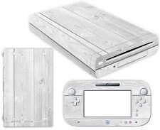 Nintendo Wii U Skin Design Foils Aufkleber Schutzfolie Set - White Wood Motiv