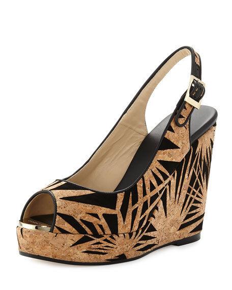 NiB Jimmy Choo Beige Black Prova Palm Laser-cut Sandal Wedges, 35.5 5