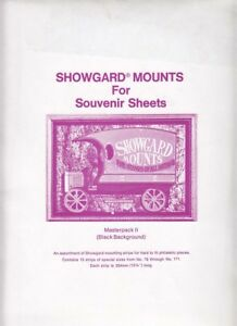 Showgard-Stamp-Mounts-Souvenir-Sheet-Strip-Set-Lot-MPKII-15-Sizes-76-171-Black