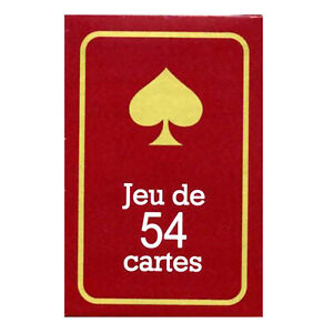 JEU DE 54 CARTES - EXTRA FINES - FORMAT POKER PLASTIFIEES - DOS ROUGE
