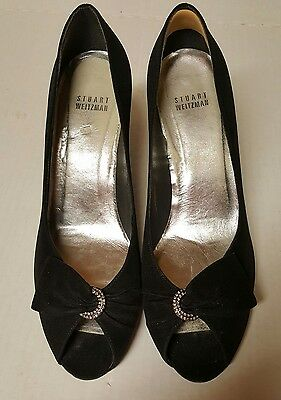 STUART WEITZMAN Dressy BLACK SATIN HEELS open toe size 9 M  shoes