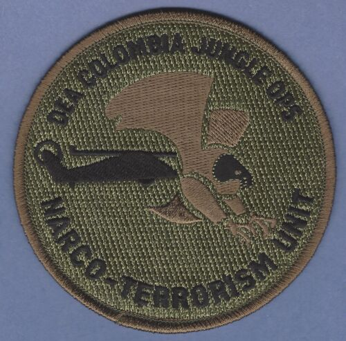 DEA COLOMBIA JUNGLE OPERATIONS NARCO-TERRORISM UNIT SHOULDER PATCH GREEN