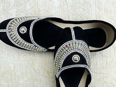 Terciopelo Negro Cuero señoras de la India Boda Fiesta Zapatos Talla 5