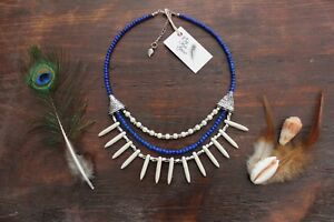 Stunning-Handmade-3-Layer-White-Turquoise-Spike-and-Blue-Glass-Beaded-Necklace